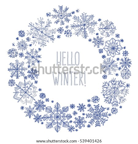 vector winter round frame of