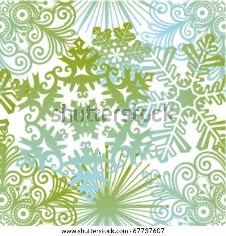 vector winter seamless background with snowflakes