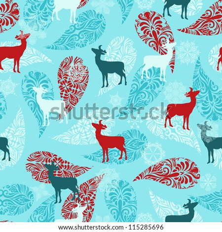 Vector winter seamless pattern with christmas decoration, deers, and snowflakes