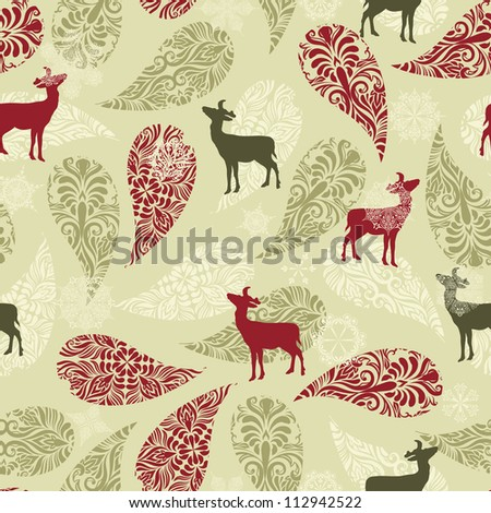 Vector winter seamless pattern with christmas decoration, deers, and snowflakes, fully editable eps 8 file with clipping masks
