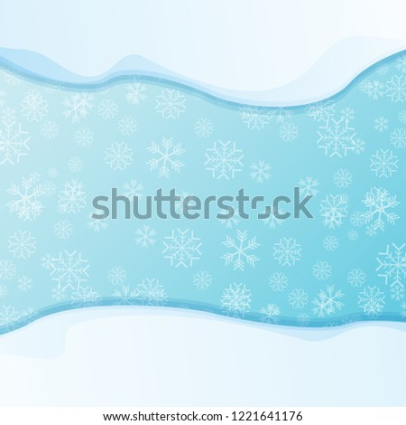 vector winter snow caps isolated on blue sky background with snowflakes. winter snow border or frame for winter sale or christmas banner design