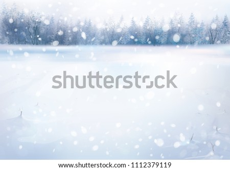 Vector winter snowfall  landscape with forest background. #1112379119