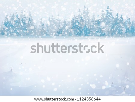 Vector winter snowfall  landscape with forest background. #1124358644