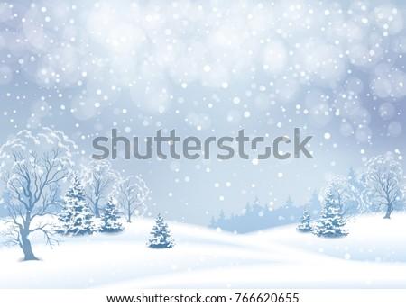 vector winter snowy landscape