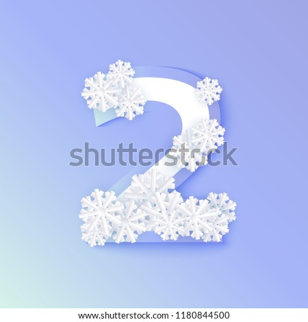 vector winter two number 2 with