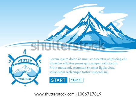 Vector winter vacations illustration for tourism organizations and resorts