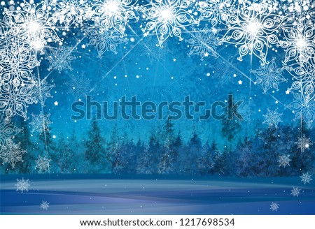 Vector winter wonderland background. Christmas card.