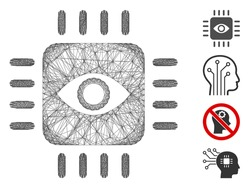 Vector wire frame bionic eye processor. Geometric linear frame 2D network made from bionic eye processor icon, designed from crossed lines. Some bonus icons are added.