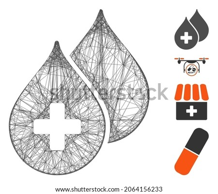 vector wire frame medical drops