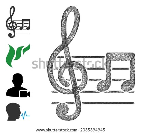 Vector wire frame musical notation. Geometric wire frame 2D net made from musical notation icon, designed with crossed lines. Some bonus icons are added. Photo stock ©