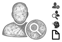 Vector wire frame search user. Geometric wire carcass 2D net made from search user icon, designed from crossing lines. Some similar icons are added.