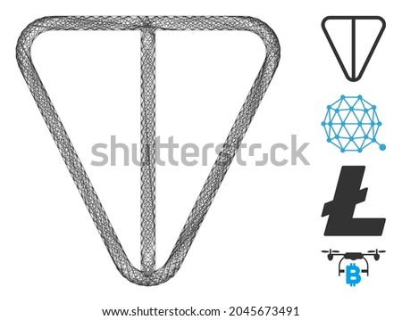 Vector wire frame ton currency. Geometric linear frame flat net based on ton currency icon, designed with intersected lines. Some bonus icons are added. Photo stock ©