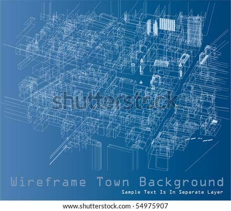 vector wireframe drawing of the town space