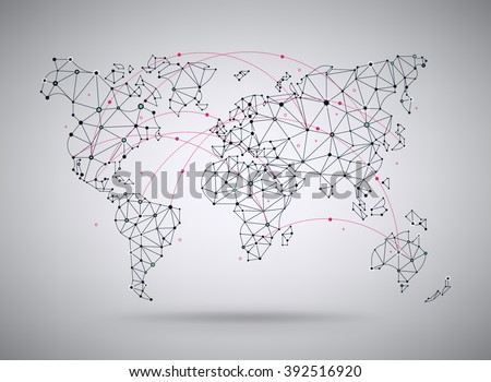 Tech world map vector download free vector art stock graphics vector wireframe mesh polygonal world map abstract global connection structure continents connected with lines gumiabroncs Gallery