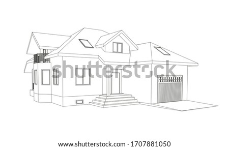 Vector wireframe perspective of stylish modern house exterior. 3D vector model of cottage isolated on white background. Photo stock ©