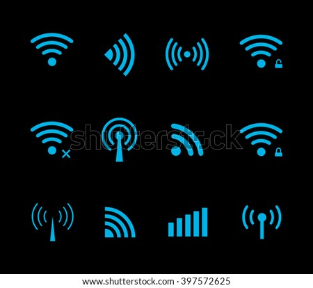 Vector wireless and wifi icon for remote access and communication via radio waves. Wi-Fi logo.
