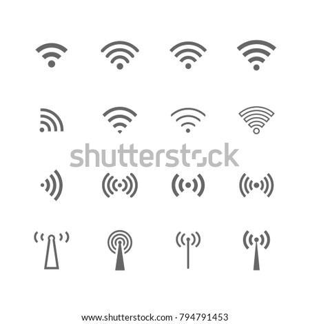 Vector wireless icon set grey on white background