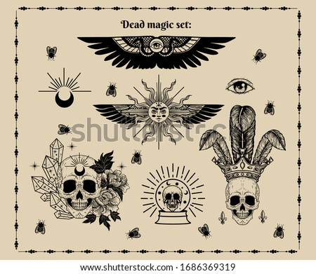 Vector witch and Magic Collection with with alchemy symbols: crystal ball, skull , moon, flowers, wings, eye, flies, crown, crystals, tattoo set