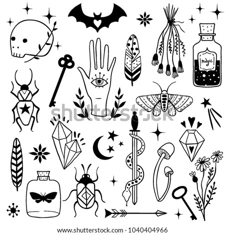 Vector witch magic design elements set. Hand drawn, doodle, sketch magician collection. Witchcraft symbols:  potion, skull, crystal, eyes, knife. Perfect for tattoo, textile, cards, mystery