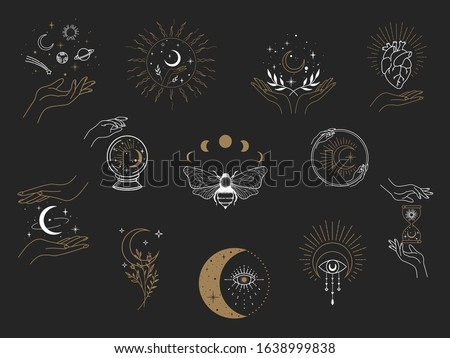 Vector witch magic design elements set. Hand drawn, doodle, sketch magician collection. Witchcraft symbols. Perfect for tattoo, textile, cards, mystery Сток-фото ©