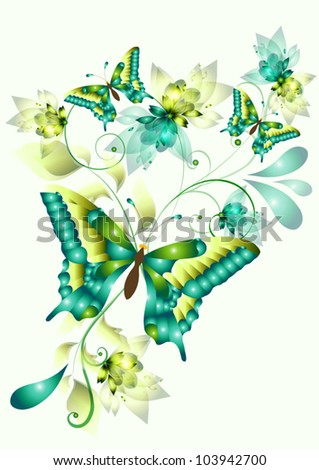 vector  with butterflies for