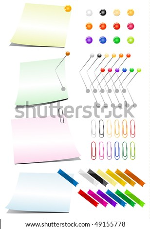 Vector with color push pin, tack and tape collection