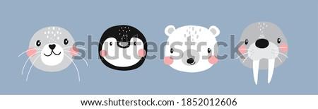 Vector with cute Arctic animals - Polar bear, seal, penguin, walrus.  Cartoon characters Arctic and antarctic animals