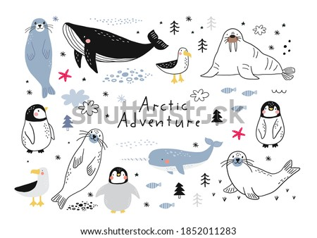 Vector with cute Arctic animals - Polar bear, seal, penguin, walrus, whale, fish, narwhal, albatross.  Cartoon characters Arctic and antarctic animals stock photo