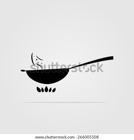 Vector Wok Pan. Silhouette With Shadow - 266005508 ...