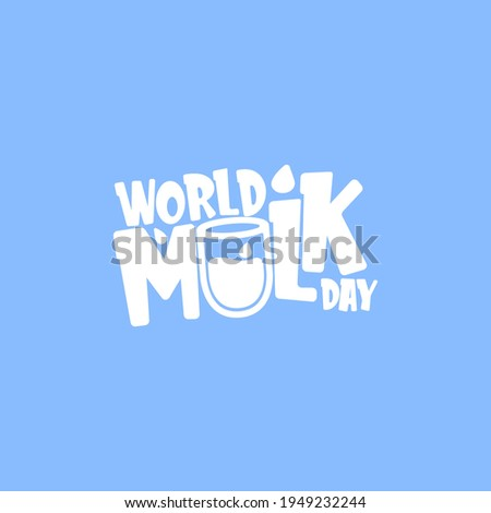 vector wold milk day outline style icon or label isolated on blue background. Milk day greeting poster design template. Milk day logo with milk glass