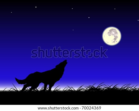 vector wolf and moon