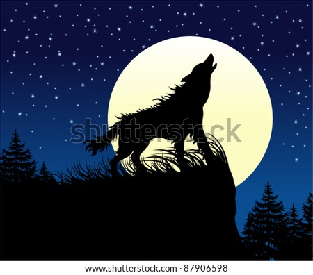 vector wolf howling on the full