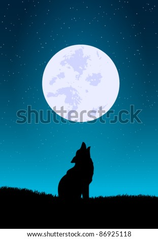 vector wolf howling with the