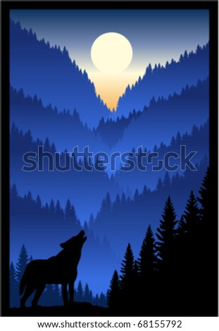 vector wolf in winter mountains