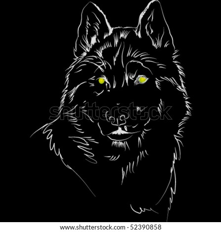 vector wolf on black