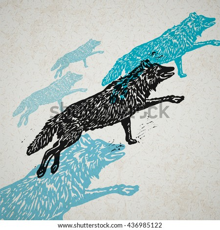 vector wolves in abstract