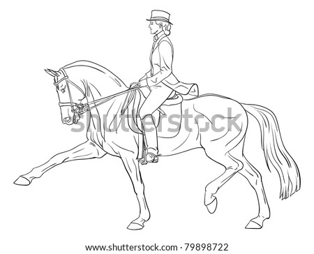 Vector woman horse dressage silhouette illustration