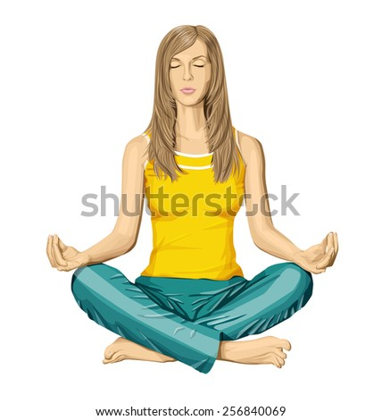vector woman meditating in