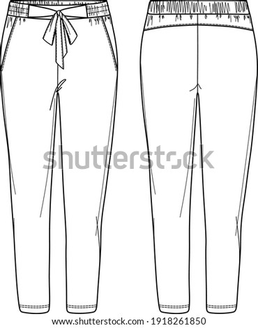 Vector woman pants technical drawing, woman sweatpants with bow detail fashion CAD, elasticized waistband pants with side pockets template, sketch Foto stock ©