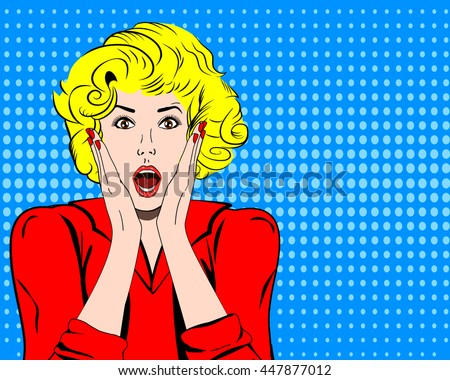 vector woman shocked face with