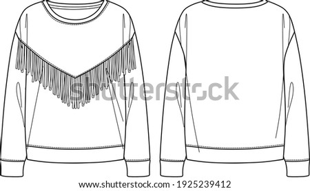 Vector woman sweatshirt fashion CAD, round neck sweatshirt with fringe trim technical drawing, template, flat, sketch Stockfoto ©