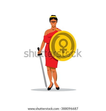 vector woman warrior cartoon