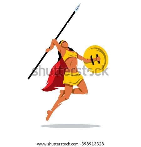 vector woman warrior with a