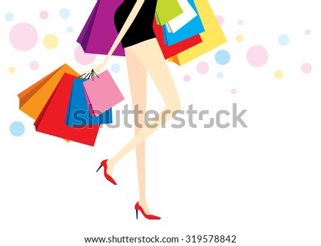 vector woman with shopping bags