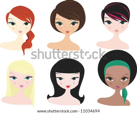 stock vector : vector women hairstyles