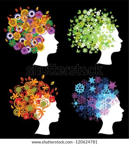 vector women head silhouettes four seasons