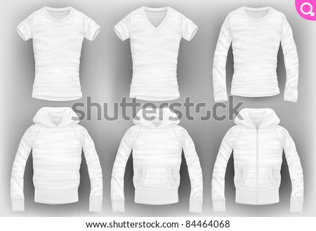 vector women's clothes pack. t-shirt, v-neck, long-sleeved, hooded sweatshirt with pockets and zipper