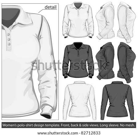 Vector. Women's polo-shirt design template (front, back and side view). Long sleeve. No mesh.