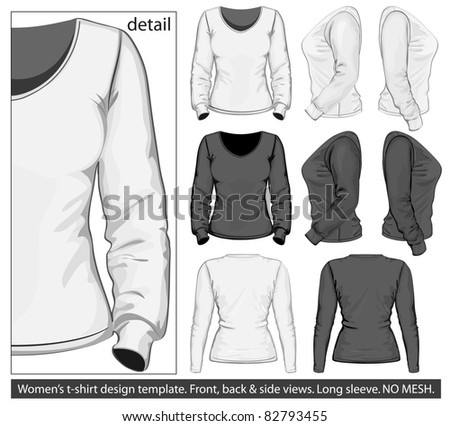 Vector. Women's t-shirt design template (front, back and side view). Long sleeve. No mesh.