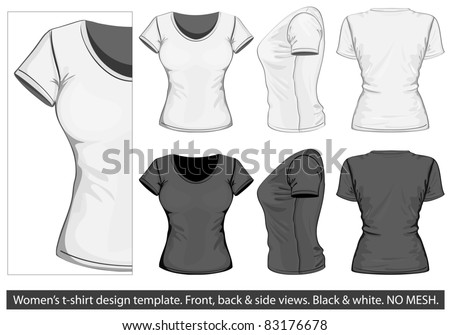 Tshirt vector black shirt womens t shirt design template front back and side view pronofoot35fo Gallery